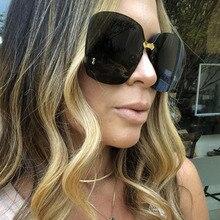 a7fac98b70 Big Oversized Rimless Sunglasses Women Gradient Lens UV400 Top Quality Brand  Designer Black Vintage Trendy Fashion