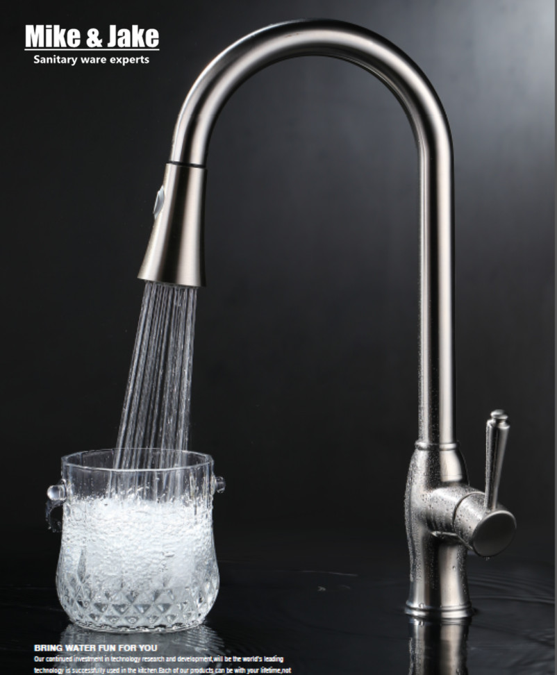 Nickel brushed pull down kitchen faucet SUS 304 sink kitchen mixer healthy kitchen faucet lead free tap kitchen mixer nickel sink pull out brushed nickel kitchen faucet pull down sink swan faucet kitchen tap torneira cozinha kitchen mixer tap