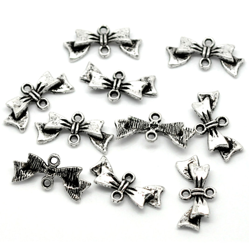 Wholesale 100pcs Connectors Beads Charms Jewelry DIY Making Findings-Silver