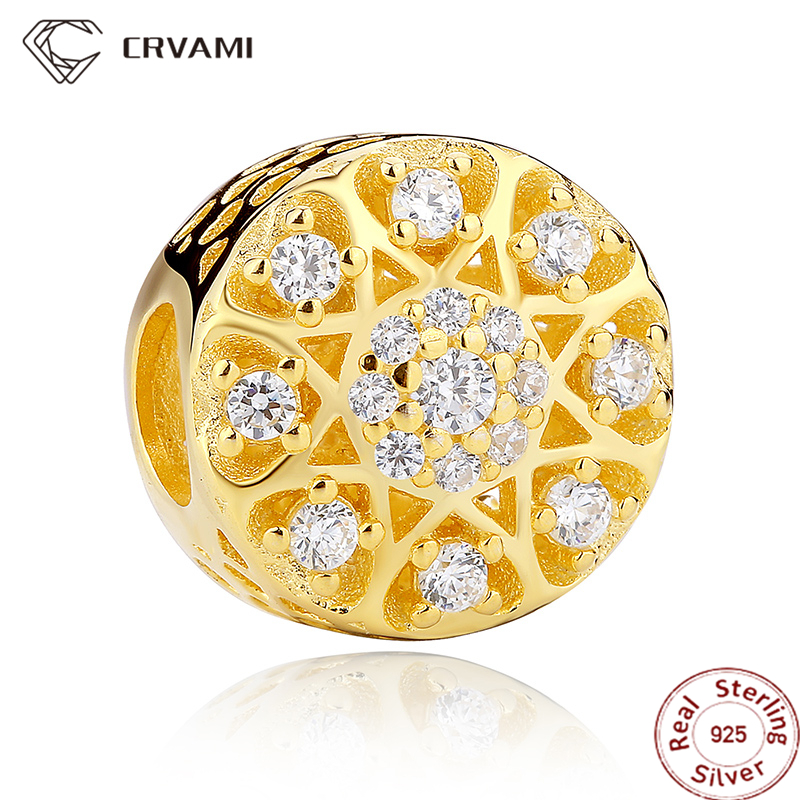 CRVAMI Charm, 925 Sterling Silver 14K Gold Plated Radiant Button Shaped Charms Fit Bracelet Intricate Heart Design Pendants