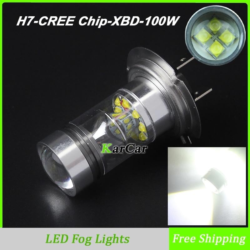 Hot Sale Auto Car CREE Chip XBD 100W 1000LM H7 LED Daytime Running Lights Bulb DRL Fog Light High Power Fog Lamp 6000K White