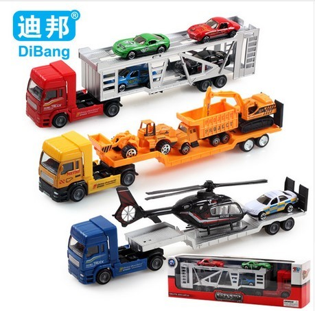 2016 Alloy trucks Children's educational toys 1:36 cars Toy trailer and helicopters Metal model toy car For Children Gifts