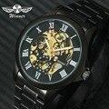 WINNER Классические Автоматические механические часы для мужчин  черный ремешок из нержавеющей стали  Римский номер  золотой скелет  Топ бренд...