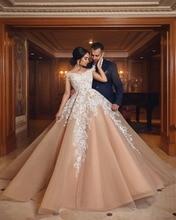 Champagne Vestido De Noiva 2019 Muslim Wedding Dresses Ball Gown V-neck Tulle Lace Dubai Arabic Bridal