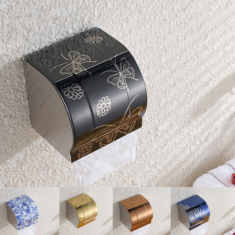 New Modern Bathroom Accessories Stainless Steel Toilet Paper Holder Paper Box Wall Mounted K8 new bathroom toilet tissue box wall mounted roll holder stainless steel bathroom accessories toilet paper holder cobbe t82603