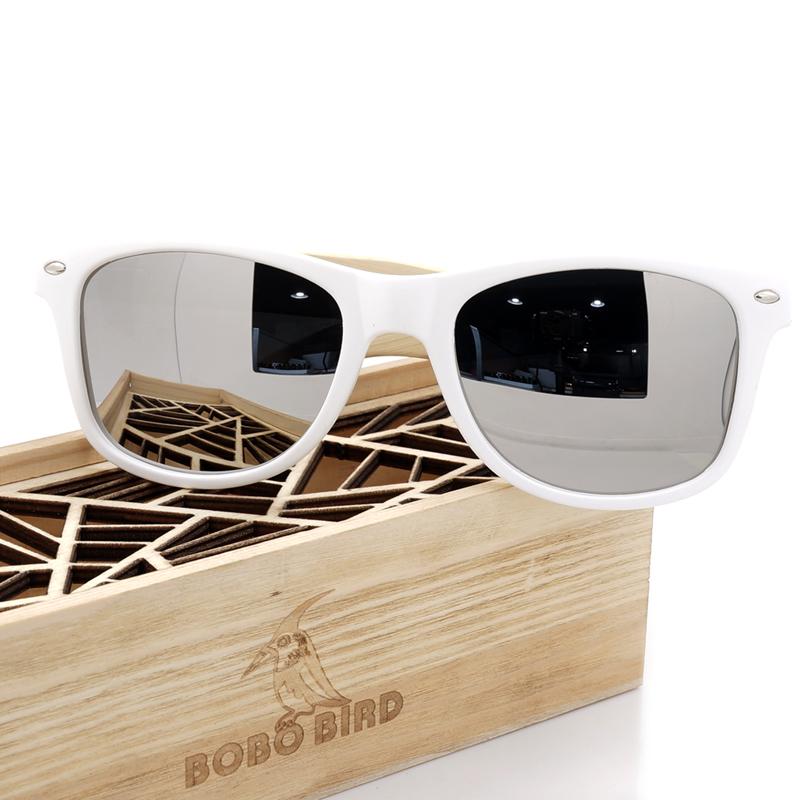 Handmade Polarized Bamboo White Plastic Frame Colorful Unisex Sunglass
