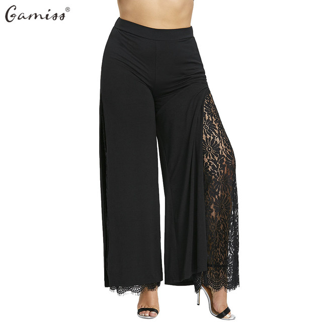 Gamiss Women Wide Leg Pants Plus Size High Slit Lace Lined Palazzo Pants  Mid Elastic Waist 0070b0739ebd