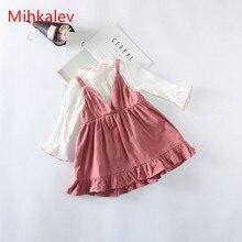 Mihkalev/ г. детские комплекты принцессы для девочек, костюмы Топы с длинными рукавами+ платье, комплект детской одежды для девочек, детский спортивный костюм