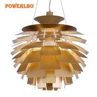 Powerlbo подвесные светильники с артишока форма лампы современные подвесные светильники для Гостиная светильники Декор Светильник E27