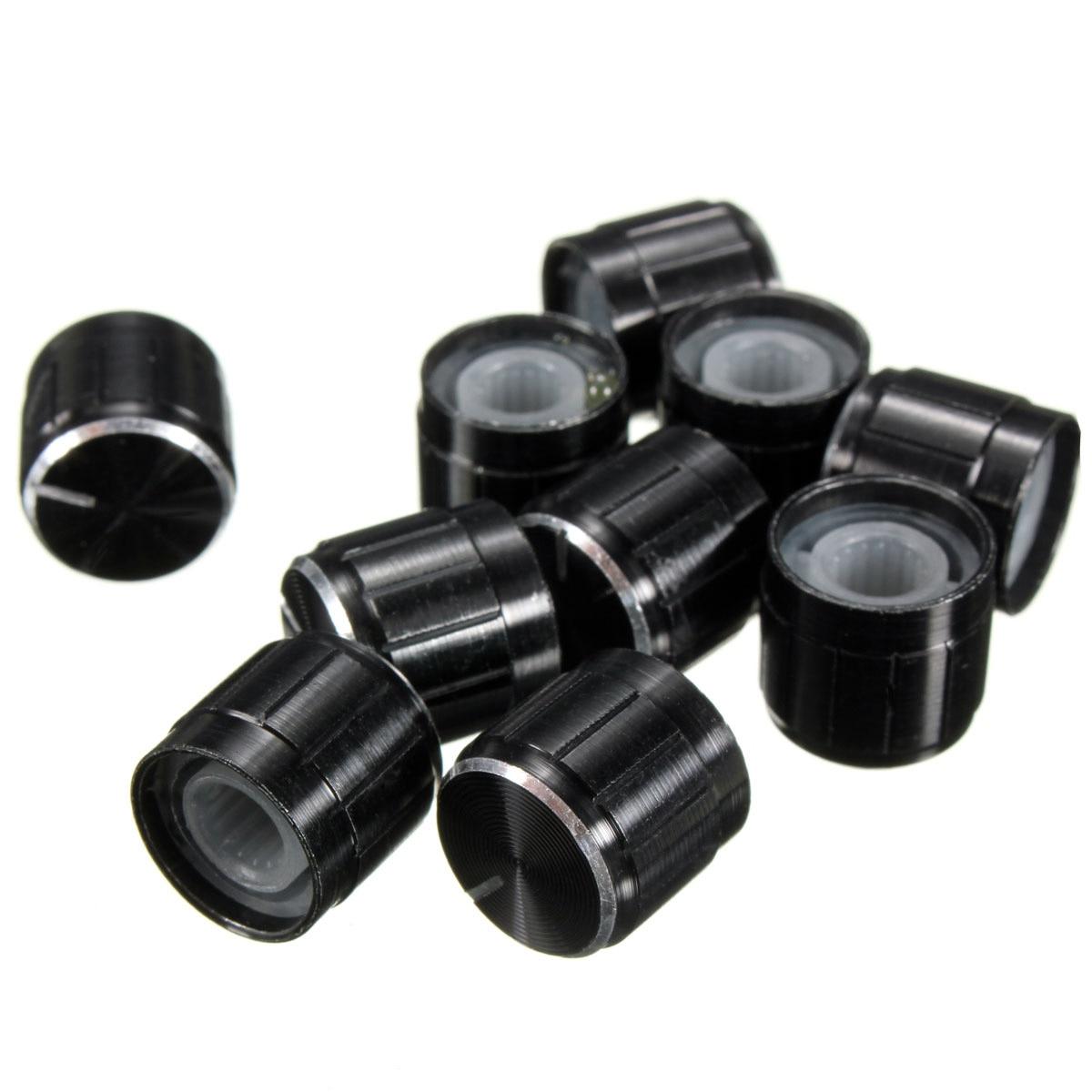 10 Uds rotativos, con perillas de Control de volumen negro para 6mm de diámetro. Potenciómetro de eje moleteado