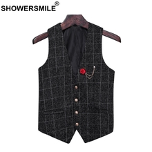 SHOWERSMILE Vintage Waistcoat Men Slim Fit Mens Suits Plaid Vest Spring Autumn Tartan Gilet Male Asia Size 5xl Sleeveless Jacket showersmile mens double breasted vest suit black dress waistcoat for men slim fit sleeveless jacket male spring autumn gilet