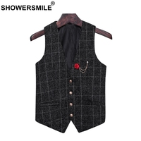 SHOWERSMILE Vintage Waistcoat Men Slim Fit Mens Suits Plaid Vest Spring Autumn Tartan Gilet Male Asia Size 5xl Sleeveless Jacket