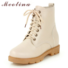 Meotina Autumn Shoes Women Ankle Boots Lace Up Height Increasing Heel Short Boots Fashion Round Toe Shoes Lady Winter Size 33-43 choudory spring autumn fringe women boots fashion genuine leather lace up ankle boots round toe height increasing women shoes