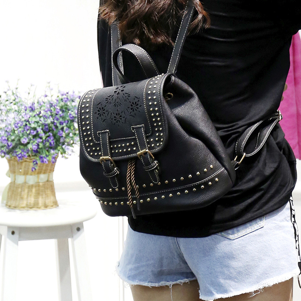 Fashion Women Backpack Vintage Floral Hollow Out Rucksack Drawstring School Bag JUNE1