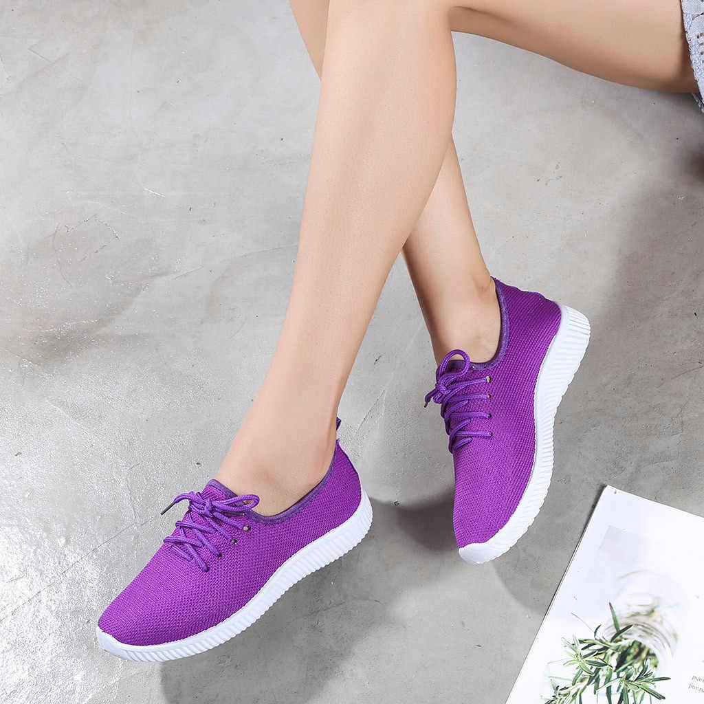 Vrouwen Sneakers Outdoor Solid Ronde Neus Ademend Loafers Zachte Leisure Platte Loopschoenen Sportschoenen Licht Bodem Schoenen # YJP