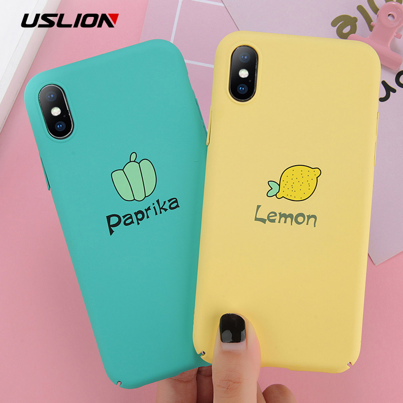 USLION Matte Hard PC Case For Iphone 8 7 Plus Cartoon Lemon Strawberry Back Cover For Iphone X 7 6 6S Plus Phone Cases Coque