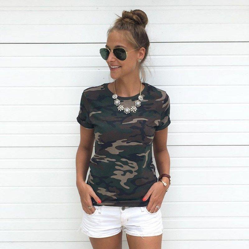 הסוואה קיץ חולצות טריקו נשים O- צווארון נשים חולצת טריקו מקרית קצר שרוול חולצת טי חולצה גבירותיי רופף חולצת טי