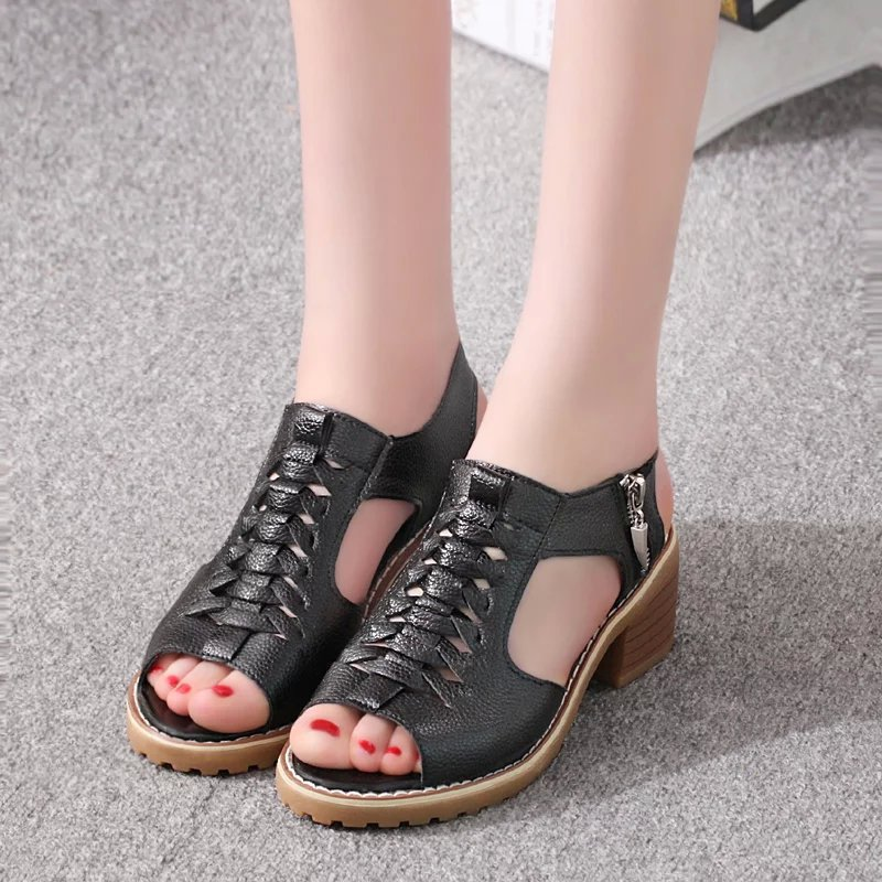 OLOMLB Women's Sandals Heel-Shoes Square Summer-Style Peep-Toe Woman Elegant Mid Zip