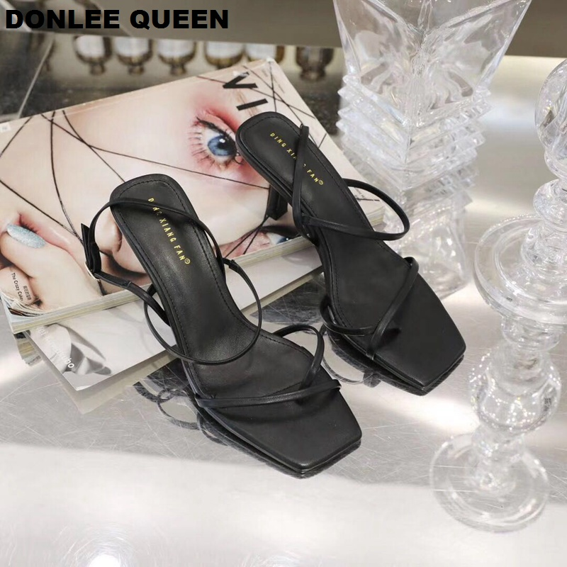 Image 5 - DONLEE QUEEN 2019 Ankle Strap Heels Women Sandals Summer Shoes Open Toe Chunky Med Heel Party Dress Shoes Narrow Band Sandal NewHigh Heels   -