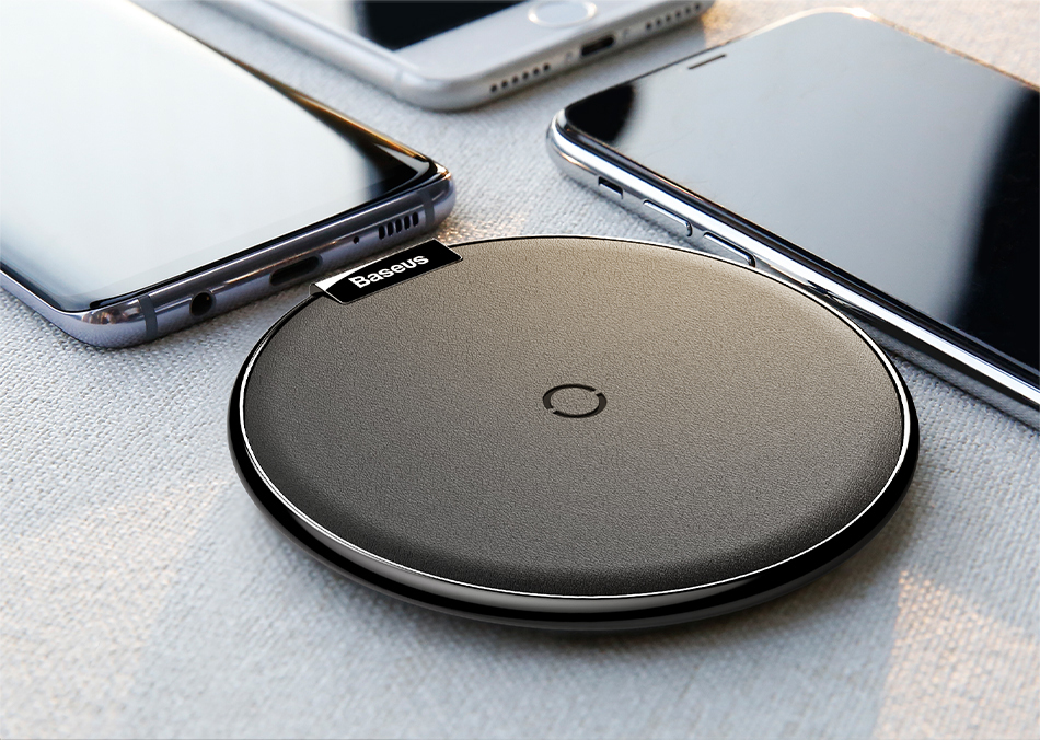 Baseus Qi Wireless Charger For iPhone X Xs Xs Max Leather Fast Wireless Charging For Samsung Note9 Desktop Wireless Charger Pad 6
