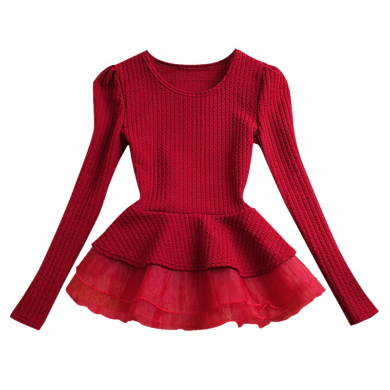 Fashion Women Crew Neck Cotton Peplum Tops Shirt Long