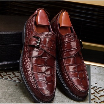 NEW Men round-toe handmade Crocodile pattern shoes fashion buckle  falt oxford for men Genuine leather party wedding shoes