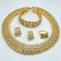 Ventas calientes de la Boda Nigeriano Beads Africanos Joyería Establece Dubai Chapado En Oro Conjuntos de Joyería de Fantasía Romántica Larga del Diseño