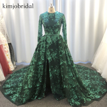 real picture prom dresses green lace appliques detachable train sparky dress long sleeve evening chapel