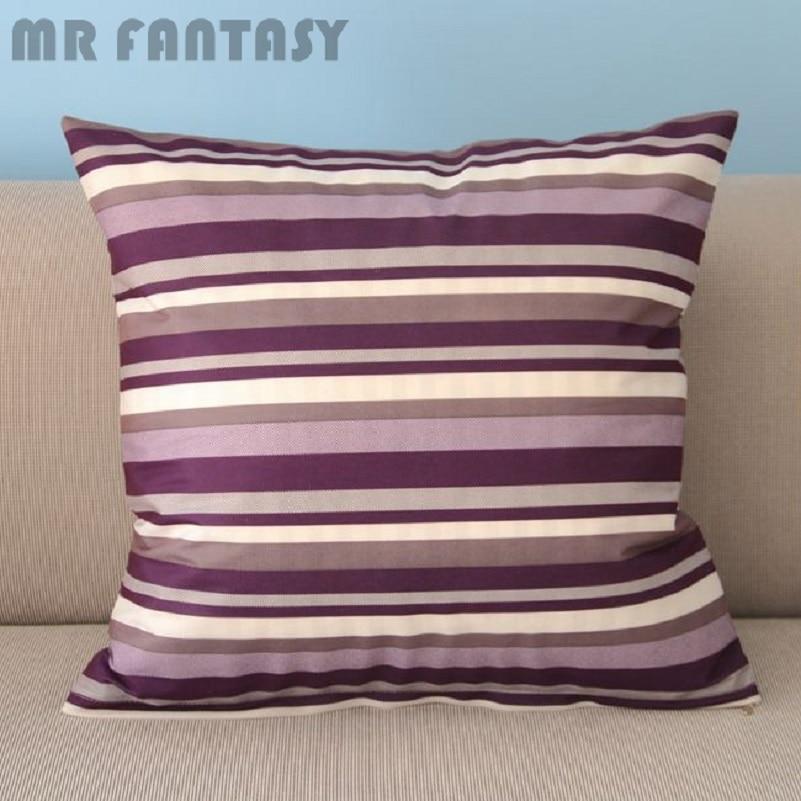 Cushion Cover Steady 50cm 20 Purple Stripes Throw Pillow Case Square Cushion Cover Waist Pillow Simple Pillowcase Home Decor Pi37 Home Textile