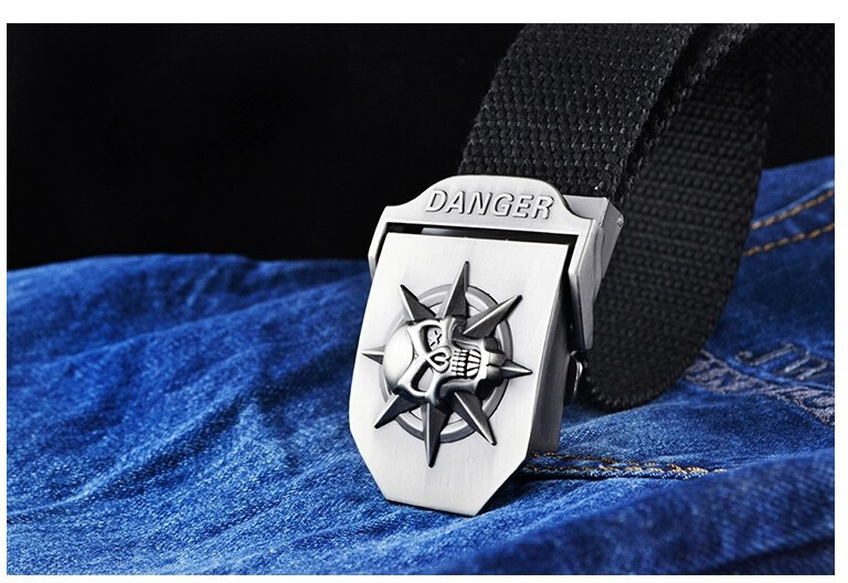 Fashion men's Canvas belt skull Metal tactics woven belt canvas belt Casual pants Cool wild gift for men belts Skull large size 22