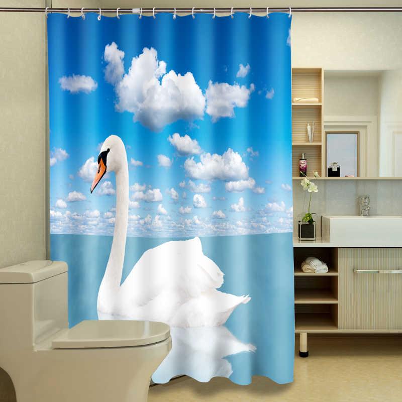 3D الرؤية الكرتون سوان عشاق دش الستار نمط الحمام ستارة للماء قابل للغسل ستارة حمام للتخصيص