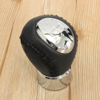 Black Chrome 5 Speed Leather Manual Gear Stick Shift Knob For Mazda 3 5 6 323