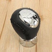 Black Chrome 5 Speed Leather Manual Gear Stick Shift Knob For Mazda 3 5 6 323 626 RX-8 Premavy MPV Car Styling Accessories