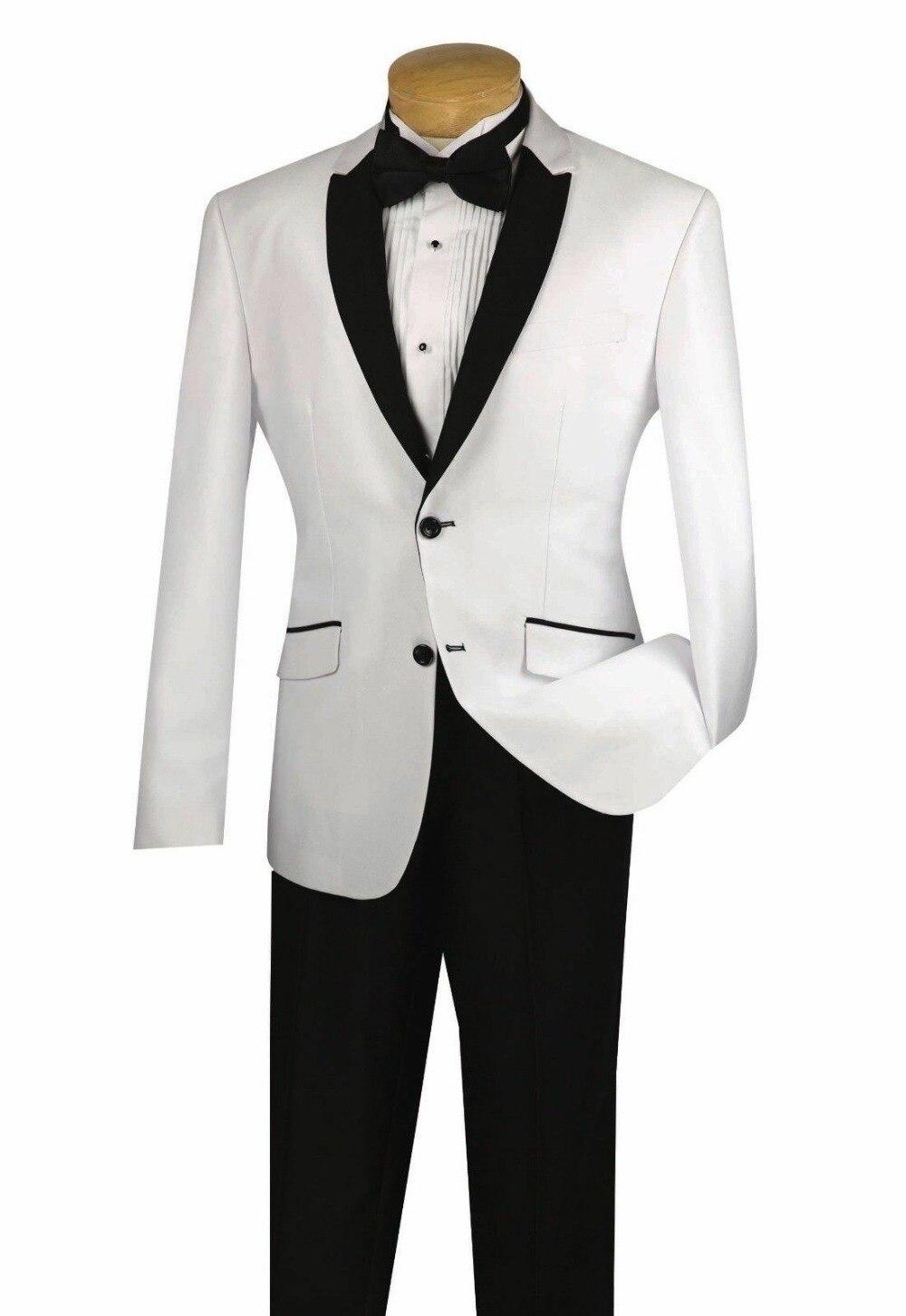 2018 White Groom Tuxedos Men Wedding Suits Jacket Groomsmen Custom in Suits from Men 39 s Clothing