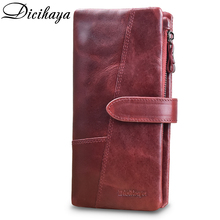 DICIHAYA NEW ARRIVE Genuine Leather Women Wallet Clutch Wallets Coin Pocket Cards Holders Brand Designer Long Purse Phone Bag
