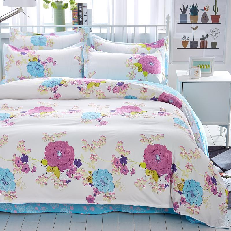 NºEstilo de verano de algodón ropa de cama súper suave doble reina