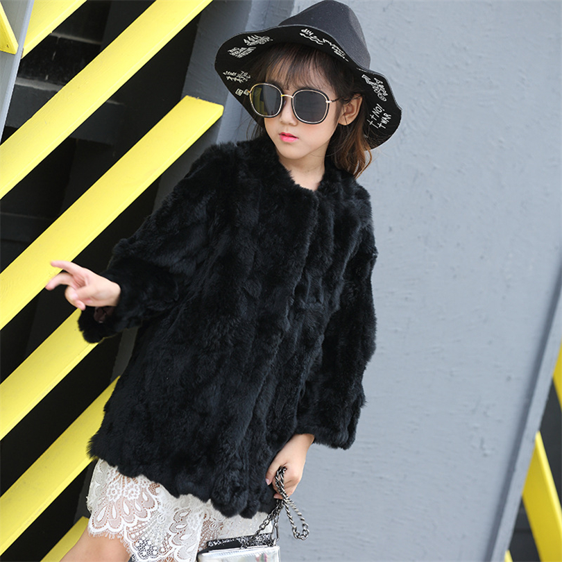 2017 Children Real Rabbit Fur Coat Kids Girls Winter Warm Solid Natural 100% Rex Rabbit Fashion Fur Coat Jacket for Girls retro round 2 in 1 plain glass flip resin lens sunglasses amber brown