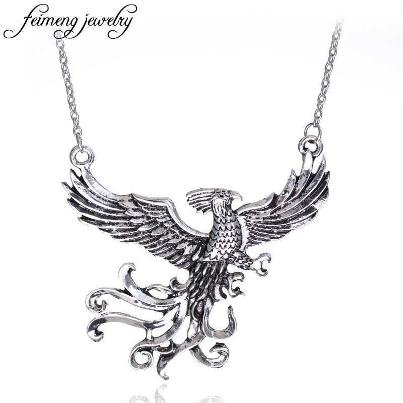 Charm Phoenix Necklace Antique Silver Horcrux Pendant Jewelry for men and women Fashion Statement necklace Accessories