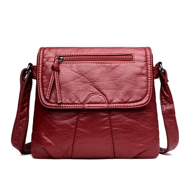 DAUNAVIA Black Small Women Messenger Bag Soft Washed PU Leather Crossbody Bag Female Handbag Purses Bolsa Feminina Bolsos Muje