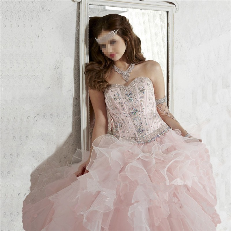 Two Piece Removable Lace Top Sweetheart Open Back Ball Gown Pink Quinceanera Dresses with Beads and Applique Vestidos De 15 Anos (4)