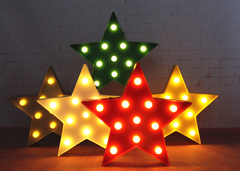 """13"""" plastic LED Star Sign Marquee Light  red white yellow  night light Indoor Dorm Xmas gift  Room deco free shipping"""