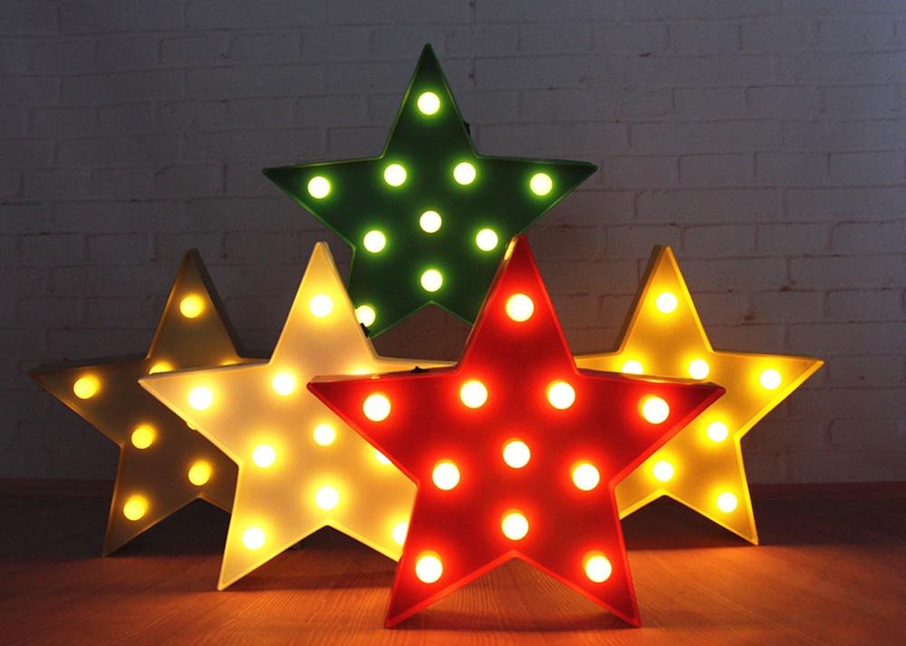 """13 """"plast LED Star Sign Marquee Lys rød hvid gul natlys Indendørs sovesal Xmas gave Room deco gratis forsendelse"""