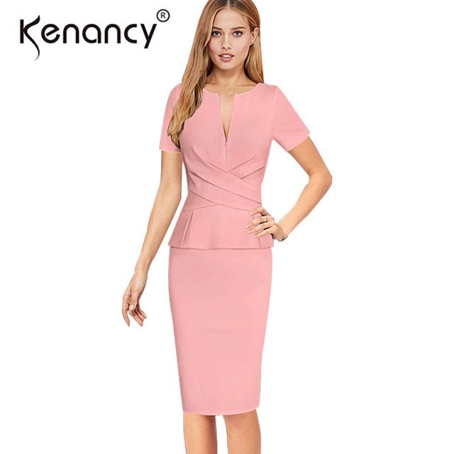 39a249f73657 Kenancy Clearance Sale 3XL Plus Size Ruffles Sexy V-neck Zipper Pencil Dress  Women Work Wear Slim Bodycon Dresses 3 Colors
