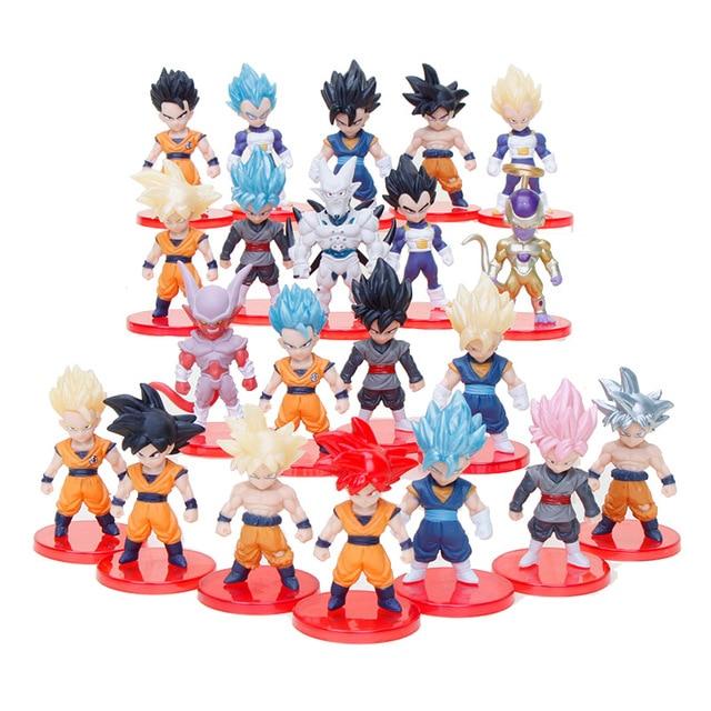 21 piezas Dragon Ball Super juguetes hijo de Goku Gohan Vegeta troncos freezer Vegetto Syn Shenron PVC figurillas coleccionables