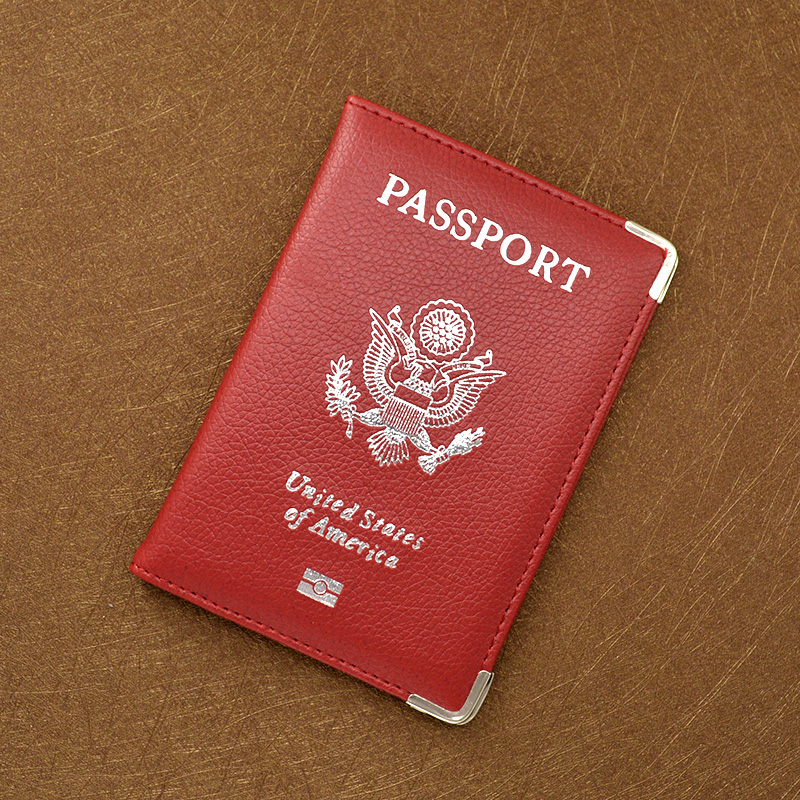 Leather Passport Cover w/metal edge