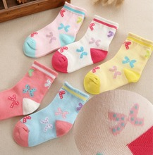 5 pairs/lot Spring and autumn high quality girls socks cotton butterfly candy color cartoon socks for girls1- 12 year 5 pairs lot spring autumn high quality girls socks cotton butterfly candy color socks for girls 2 7 year children socks