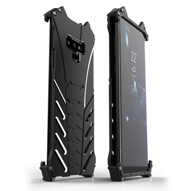 R JUST สำหรับ Samsung S10 PLUS S8 S9 BATMAN เกราะโลหะอลูมิเนียมสำหรับ Samsung Galaxy หมายเหตุ 8 9 A8S A9S Coque