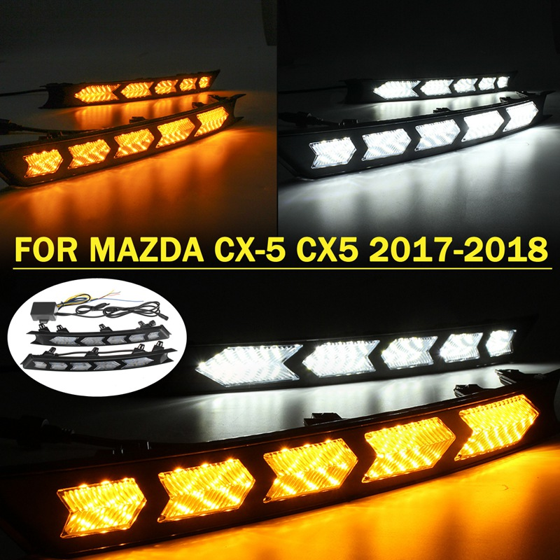 Autoleader 2Pcs DC 12V LED DRL Daytime Running Light Fog Day Lamp White Yellow for Mazda CX-5 CX5 2017-2018 Auto Light Assembly