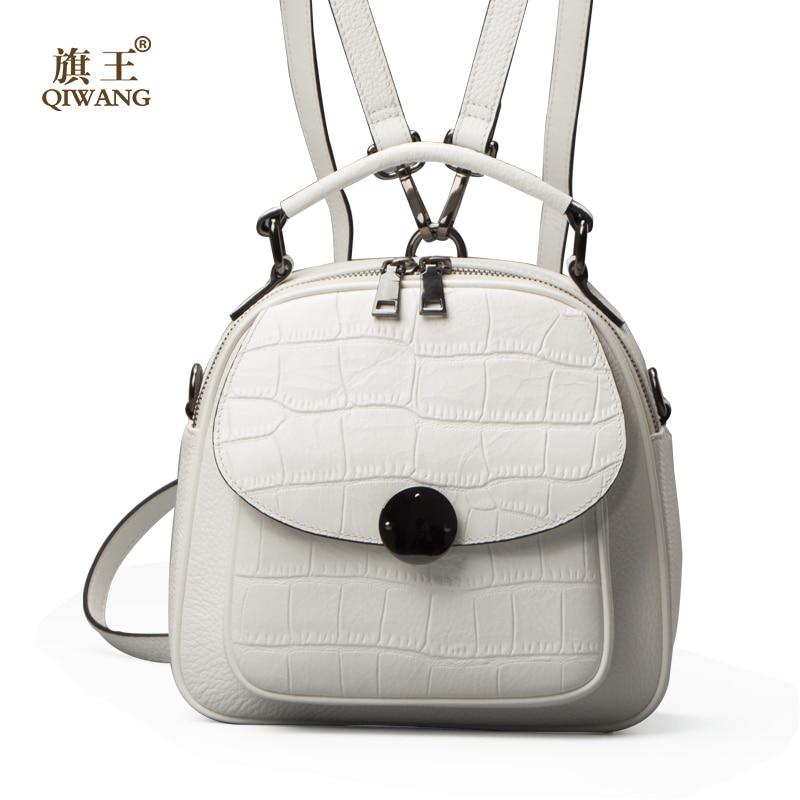 QIWANG Genuine Leather Backpack Woman Beige Bag Luxury Backpacks Purse  Ladies Travel Bag Small Backpack for Girl e2b63e0bc7