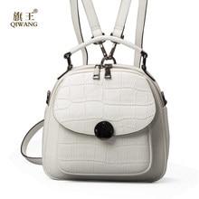 c0778774e2ca QIWANG из натуральной кожи рюкзак женская бежевая сумка роскошных рюкзаки  кошелек дамы дорожная сумка маленький рюкзак